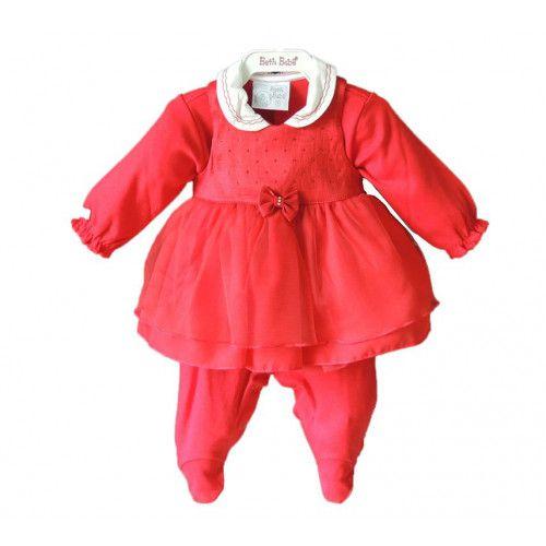 Vestido Infantil e Macacão Vermelho Nicole
