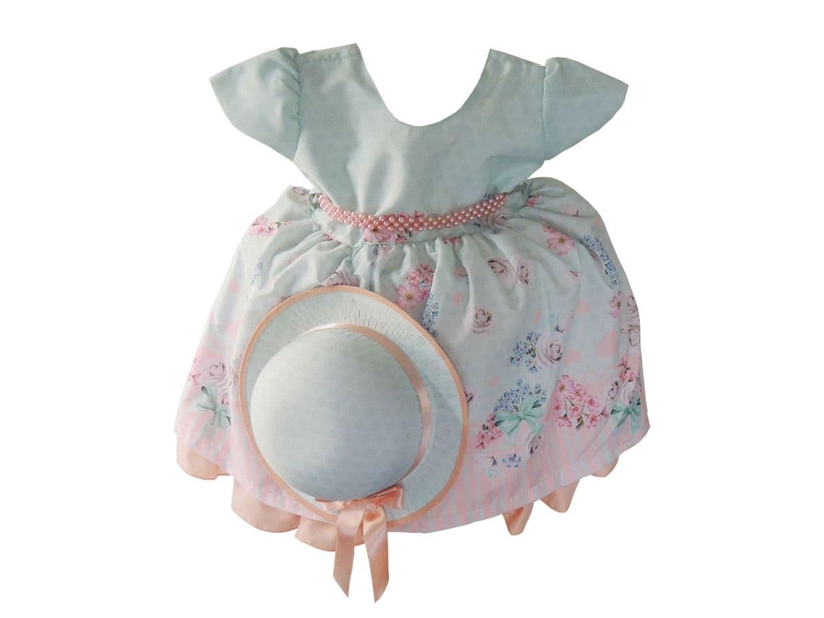 Vestido Infantil Estampa de Floral com Chapéu