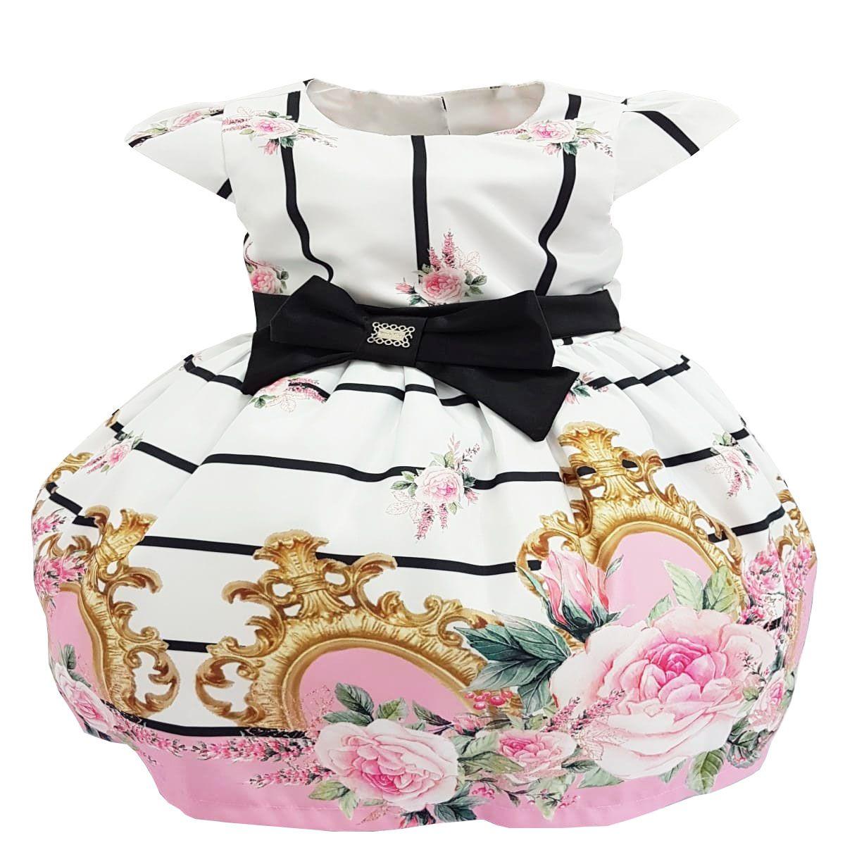 Vestido Infantil Estampa Floral com Laço