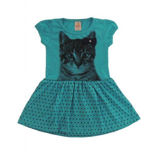 Vestido Infantil Gatinho de Bolinhas
