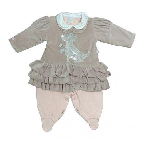 Vestido Infantil Marrom e Macacão Rosa Nicole