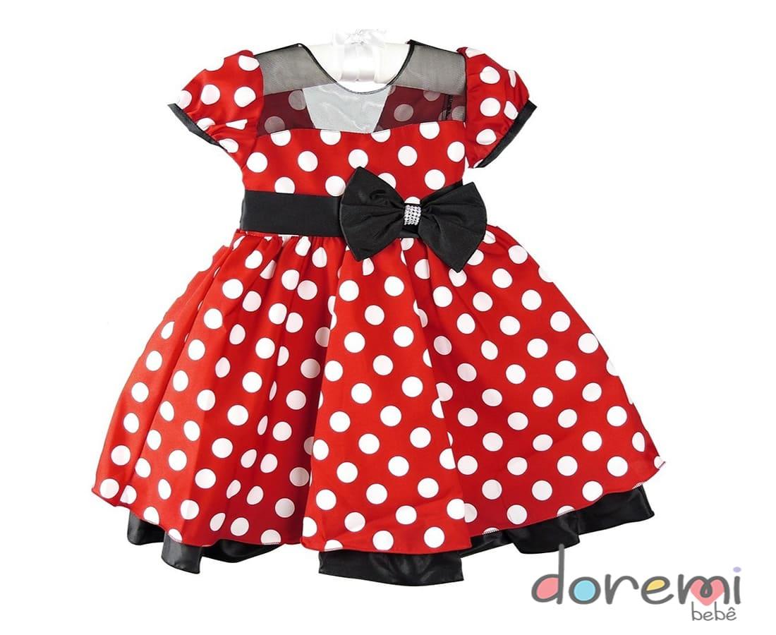 Vestido  Minnie Vermelho e branco - tam 1 ao 3