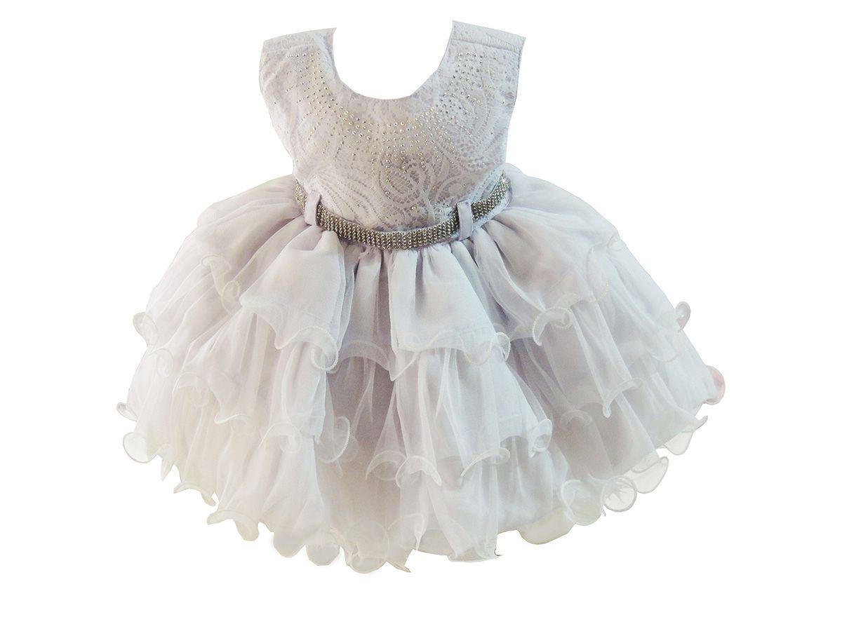 Vestido Rendado Bebê Branco Strass - Tam P ao G