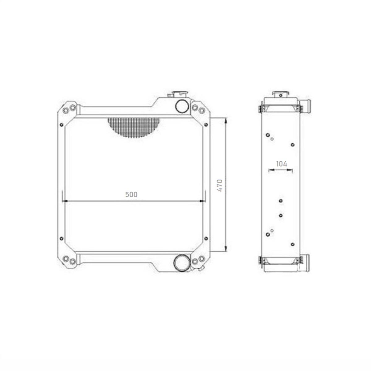 Radiador Case 580L 470X510 5RVL 6  / BNV-8660 C/L