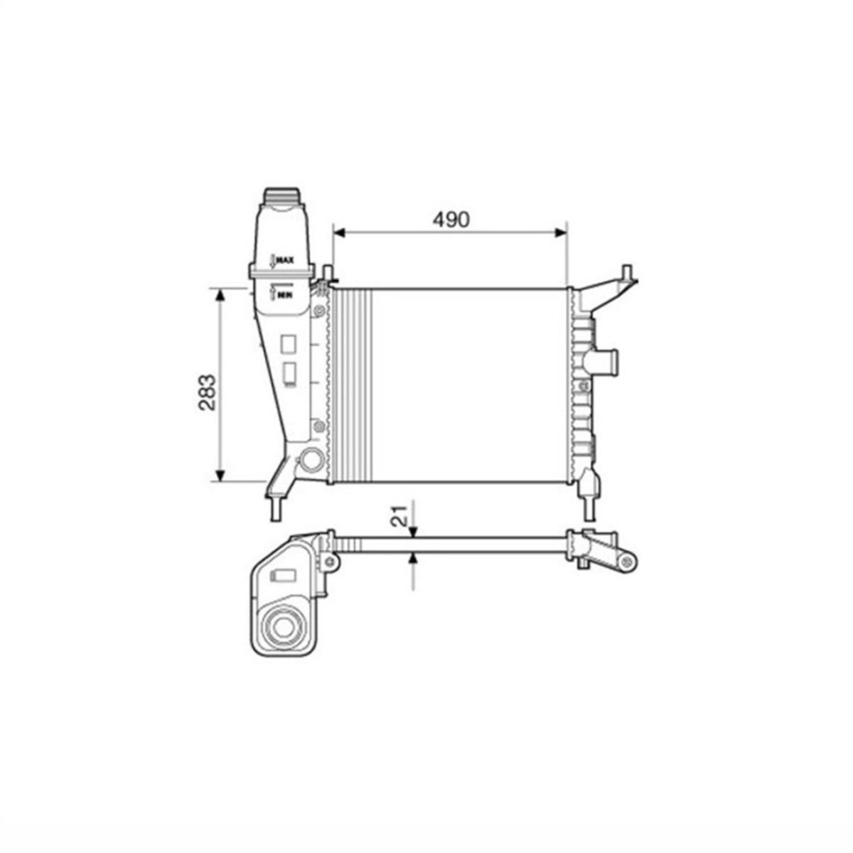 Radiador de Água Chevrolet Celta 1.0 1.4 8V Sem Ar Manual Com Reservatório 2000 a 2005