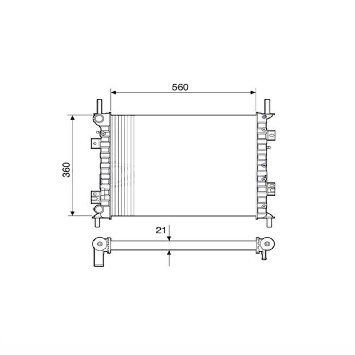 Radiador de agua Ford Ecosport 1.0 1.6 2.0 Fiesta 1.0 1.6 Com Ar / Sem Ar Manual 2003 a 2010