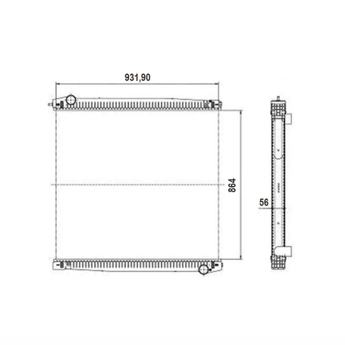 Radiador de Água Scania R / T 114 / 124 Serie 4 Sem Lateral