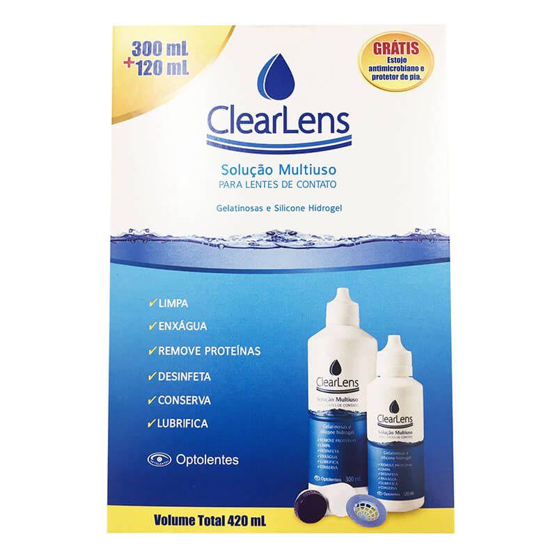 ClearLens Solução Multiuso Kit Com 300ml + 120ml + Estojo + Protetor de pia