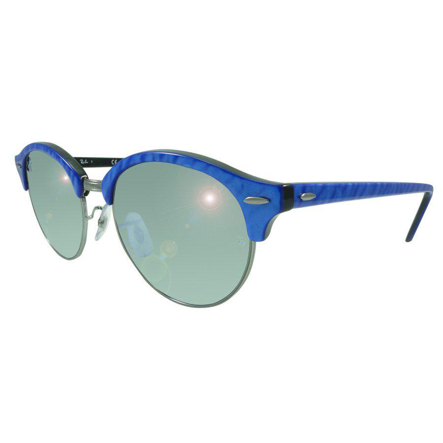 5d5d5f364 Óculos de Sol Ray-Ban Clubmaster Clubround Classic Azul Lente Prata  Brilhante / Espelhado RB4246