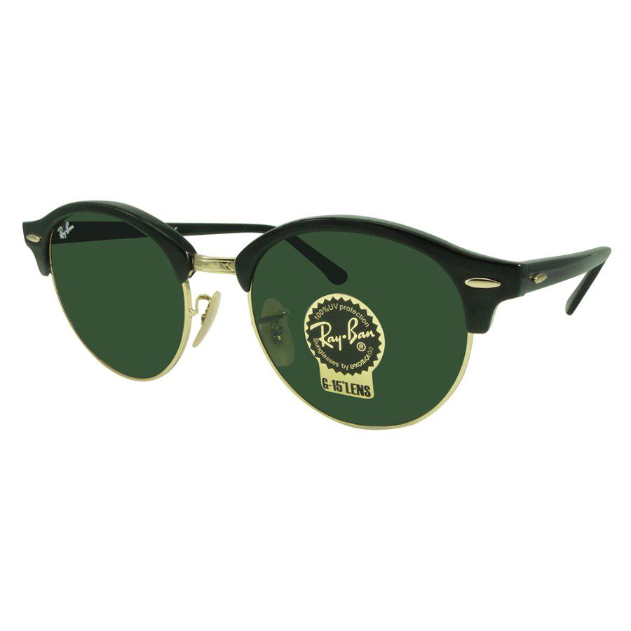 1d8f3a669 Óculos de Sol Ray-Ban Clubmaster Clubround Classic Preto Lente Verde  Clássica RB4246