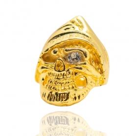 Anel Caveira Pirata Olho de Zircônia (15,2g) (Banho Ouro 24k)
