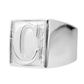 Anel com letra C 10g (Banho Prata 925)