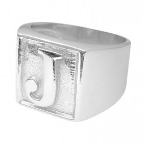 Anel com letra J 10g (Banho Prata 925)
