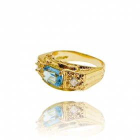 Anel Cravado c/ Pedra Aquamarine (Banho Ouro 24k)