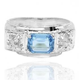Anel Cravado c/ Pedra Aquamarine (Banho Prata 925)