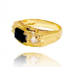 Anel Cravado c/ Pedra Preta de Zircônia (Banho Ouro 24k)