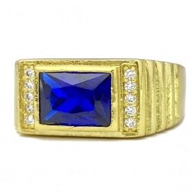 Anel Cravado com Pedra de Zircônia Azul 5g (Banho Ouro 24k)