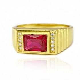 Anel Cravado com Pedra de Zircônia Vermelha 5g (Banho Ouro 24k)