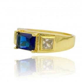 Anel Cravejado com Pedra de Zircônia Azul central e 2 Brancas Laterais 5g (Banho Ouro 24k)