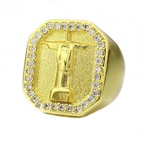 Anel Cristo Redentor Cravejado em Zircônia 14g (Banho Ouro 24k)