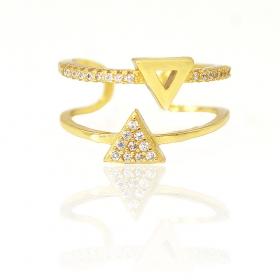 Anel Duplo Triângulo Cravejado em Zircônia (Ajustável) (Banho Ouro 24k)