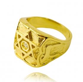 Anel Estrela de Davi Cravado Pedra de Zircônia (9,1g) (Banho Ouro 24k)