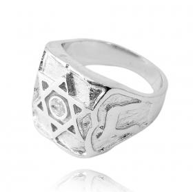 Anel Estrela de Davi Cravado Pedra de Zircônia (9,1g) (Banho Prata 925)