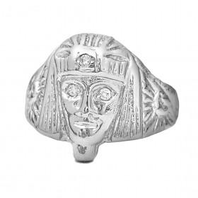 Anel Faraó com Olhos de Zircônia (7g) (Banho Prata 925)