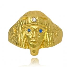 Anel Faraó com Olhos de Zircônia Azul (Banho Ouro 24k)