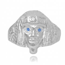 Anel Faraó com Olhos de Zircônia Azul (Banho Prata 925)