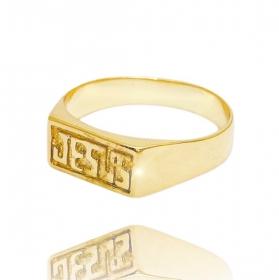 Anel Jesus (Banho Ouro 24k)