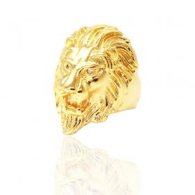Anel Leão com Pedras em Zircônia (21g) (Banho Ouro 24k)