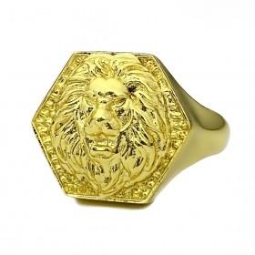 Anel Leão Geométrico 5g (Banho Ouro 24k)