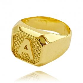 Anel Letra A (7g) (Banho Ouro 24k)