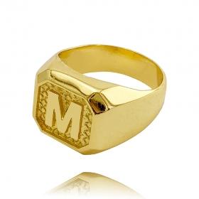 Anel Letra M (7g) (Banho Ouro 24k)