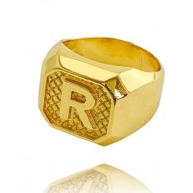 Anel Letra R (7g) (Banho Ouro 24k)