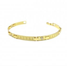 Bracelete Com Cruz e Pedra Branca de Zirônia 5mm (Banho Ouro 24k)