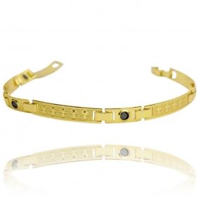 Bracelete Cruz Pedra Preta 5mm (Banho Ouro 24k)