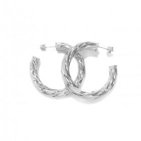 Brinco Argola Espiral G (10,5g) (Banho Prata 925)