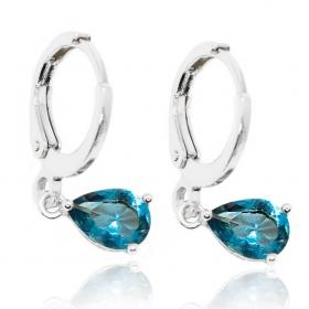 Brinco Argola Pedra Azul (Banho Prata 925)