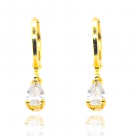 Brinco Argola Pedra Cristal (Banho Ouro 24k)