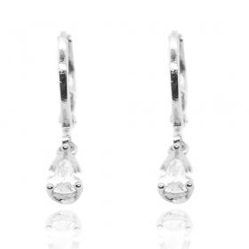 Brinco Argola Pedra Cristal (Banho Prata 925)