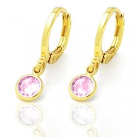 Brinco Argola Pedra de Zircônia Rosa G (Banho Ouro 24k)