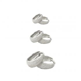 Brinco Argola Texturizada P M G (Piercing Hélix) (Banho Prata 925)