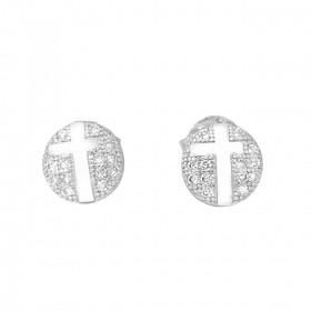 Brinco Circular Com Cruz Pedras 7mm X 7mm (Zircônia) (Banho Prata 925)