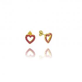 Brinco Coração Vazado Cravejado em Zircônia Rosa Escuro (Banho Ouro 24K)