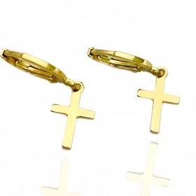 Brinco Argola Crucifixo Chapado (Banho Ouro 24k)