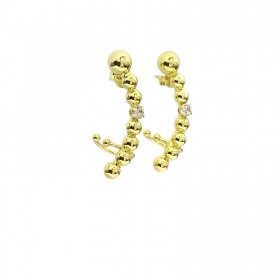 Brinco Ear Cuff Esferas (Banho Ouro 24k)