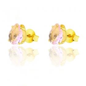 Brinco Gota de Zircônia Rosa G (Banho Ouro 24k)