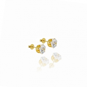 Brinco Pedra de Zircônia Circular c/ Galeria Coroa (8mmX8mm) (Banho Ouro 24k)
